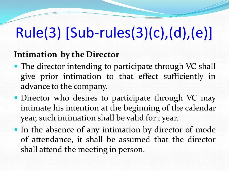 Rule(3) [Sub-rules(3)(c),(d),(e)]